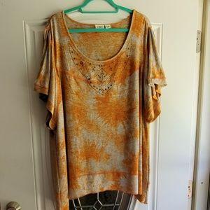 Cato Short Sleeve Orange Tunic